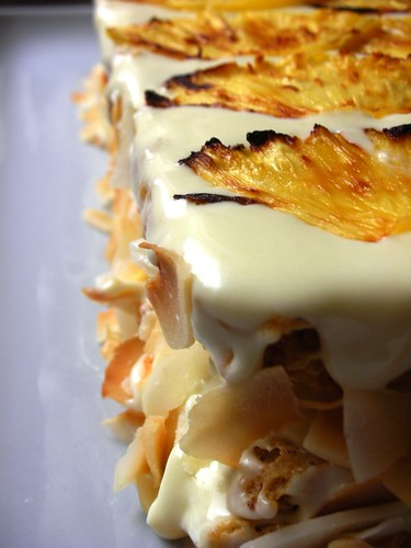 coconut-roasted pineapple dacquoise