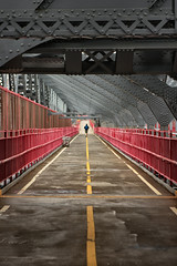 Vanishing Point (Pensiero) Tags: street nyc bridge ny newyork man steel perspective run uomo lane portfolio jogging williamsburgh acciaio pensiero correre williamsburghbridge puntodifuga stefanocorso vainshingpoint selexb