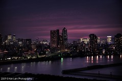 Tokyo sunset... (Ken.Lam) Tags: park blue sunset tower st japan clouds buildings river lights tokyo dusk illuminations hour   lukes sumida tsukishima hdr axis typhoon offices annex shiodome dentsu  toyosu