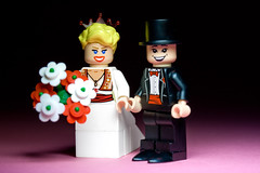 Mark and Hannah - Bride and groom (with top hat) (Sad Old Biker) Tags: pictures desktop uk morning flowers wedding wallpaper england brick love cake canon poster geotagged toy photography groom bride photo funny couple europe kevin dress lego fig photos sale mark lol background awesome hannah ceremony marriage husband wed mini images best suit card photograph buy wife bouquet lmao ever coolest marry cutest topper anthropomorphism anthropomorphic rofl minifigures poulton kevinpoulton sadoldbiker finniest