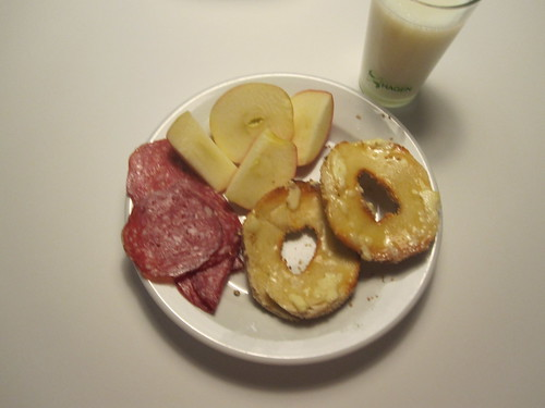 bagel, milk, salami, apple