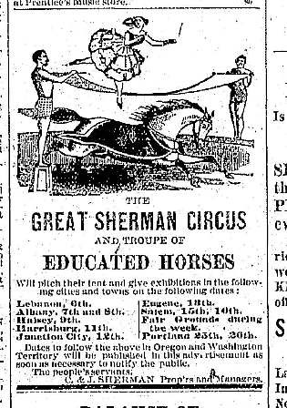 Great Sherman Circus - September 12 1882 Oregonian