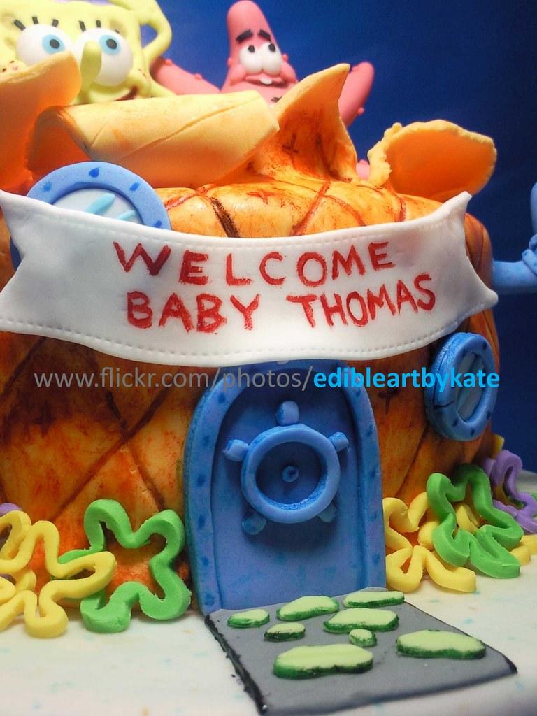Spongebob + Patrick Baby Shower Cake   Close view