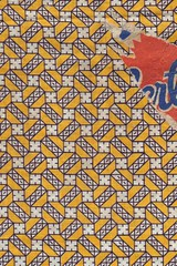 Feedsack with bit of label (cluttershop) Tags: geometric yellow pattern feedsack vintagefabric