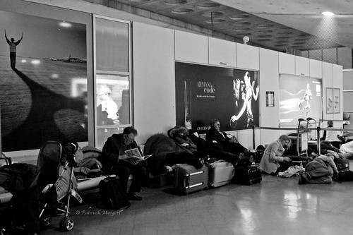 Sleeping in Charles de Gaulle airport.