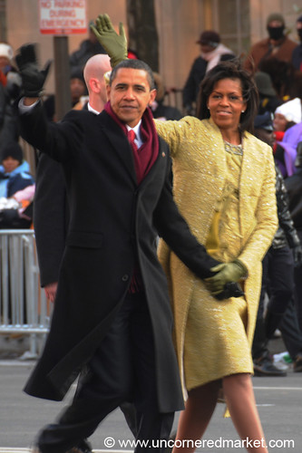 The Obamas on Pennsylvania Avenue