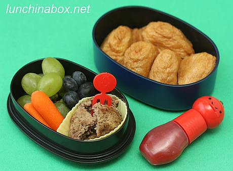 Mini burger & inarizushi bento lunch for preschooler