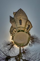 Coucher de soleil  l'glise (gadl) Tags: sunset panorama france church soleil tripod coucher gimp projection polar glise coucherdesoleil 360 auvers stereographic hugin valdoise auverssuroise enblend mathmap stereographicprojection 303sph 95430 enfuse