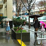 Trying out her umbrella in the downpour, our little Alice with her mom and younger sister, on a shopping trip, San Mateo, California, USA thumbnail