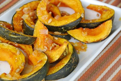 roasted Kabocha squash with an orange-honey-ginger glaze