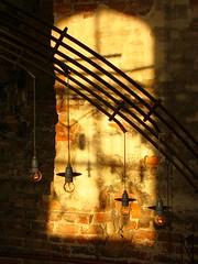 Lamps at Koldinghus (BroùBroù) Tags: light sunlight metal denmark shadows ombre exchange luce artificiallight ferro kolding hierro danimarca lampadine