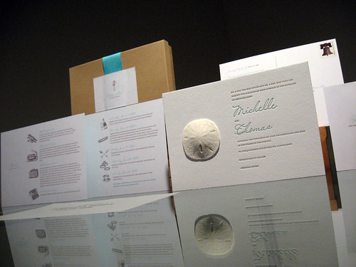 Sand Dollar Letterpress Invitation - Whole Set