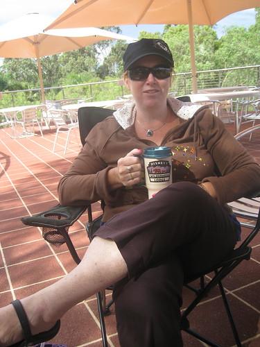 Libby enjoying a cup of tea