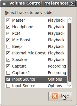 Volume COntrol Preferences