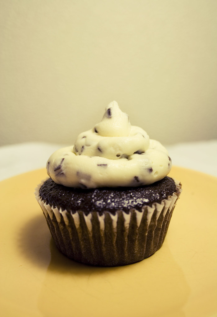 chocolate cupcake with buttercream and chocolate chips