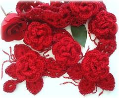 Rosa Vermelha (Lidia Luz) Tags: flower rose scarf handmade crochet flor rosa cachecol croch lidialuz