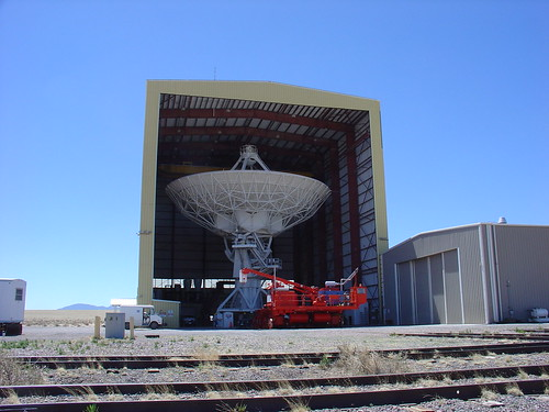Dish being serviced in hangar