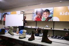 X-Board Printed Panels for Shoe Shop Storage Area