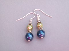 Peacock Earrings (sweetanniesjewelry) Tags: pearls earrings sterlingsilver