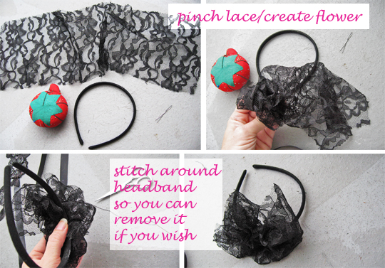 Faq my hair diy headbands love maegan black lace flower headband solutioingenieria Images