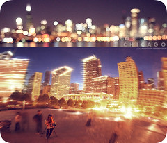 Chicagokeh. (ShanLuPhoto) Tags: city travel usa chicago skyline america self buildings reflections lights illinois downtown bokeh tripod millenniumpark thebean sheddaquarium  portrait bigbean  hbw  loolooimage