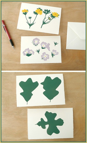 Claire Nereim screenprinted floral notecards