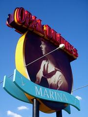 Opal Divine's Marina (JD Hancock) Tags: blue sign austin photo texas image picture cc opaldivines btp jdhancock