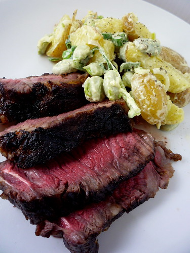 BBQ Rib of Beef with potato and broan bean salad by you.
