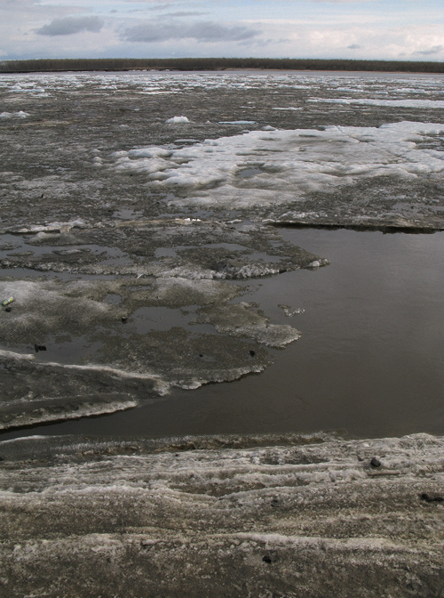 ice on the surface of the Kuskokwim River, Bethel, Alaska