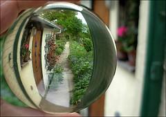 garden path through the crystal ball (april-mo) Tags: bird glass ball sphere boule glasswork crystalball spheric bouledecristal