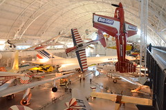 Steven F. Udvar-Hazy Center: South hangar panorama, including De Havilland Canada DHC-1A Chipmunk Pennzoil Special, Loudenslager Laser 200, and Air France Concorde
