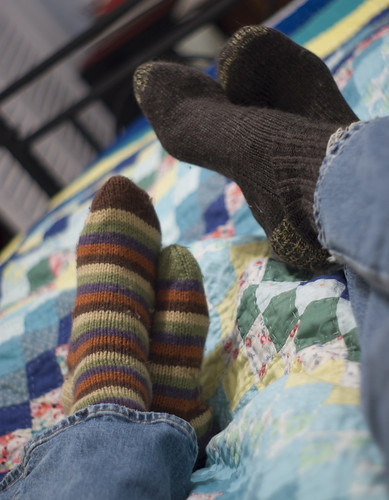 Handknit Socks On Bed