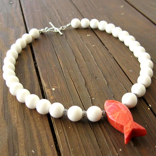 Red Sea Necklace - White Coral and Sterling Silver Necklace with Salmon-Colored Coral Fish Pendant