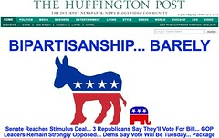 Feb 7 HuffPo Front Page: Stimulus Bill Comprom...