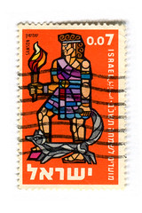 Israel Postage Stamp: Samson (karen horton) Tags: typography mosaic festivals bible samson bezalel postagestampsvintagegraphicdesignphilatelichebrewillustrationold1960sseries asherkalderon
