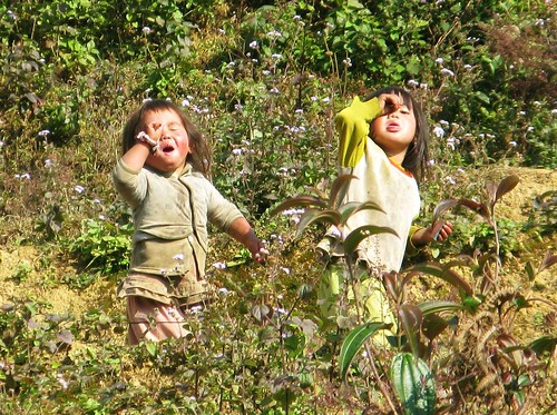 Little hill tribe children flipping us off - Sapa, Vietnam