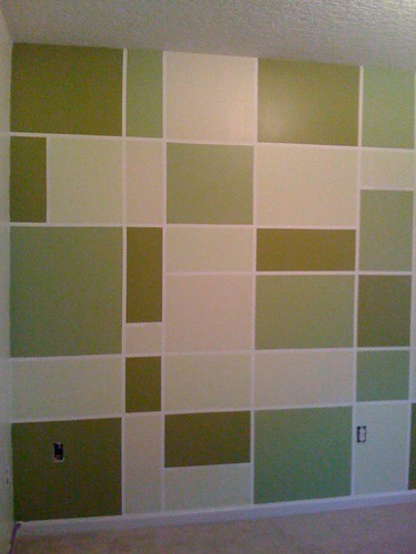 nursery wall-painted squares, green & tan