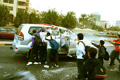 crazy playing into car (e_ssmile) Tags: car crazy enjoy salmiya q8 alkuwait partykuwait kuwaitnationalday snowinwukait