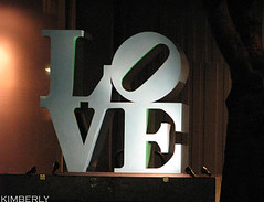 LOVE in the city. (zuzupetal) Tags: city blue light canada love robert sign night vancouver britishcolumbia thecity indiana ring nighttime lovering robertindiana lovesign