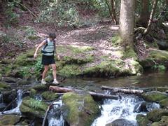 Kris Whorton crosses a creek