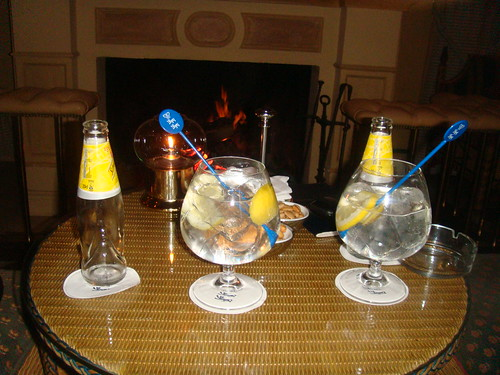 Gin tonics con la chimenea de fondo