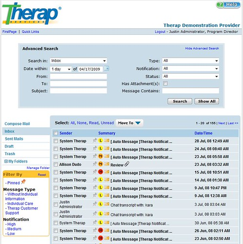 Screenshot showing Advanced Search for messages on SComm page.