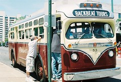 Memphis Tour Bus (lola smalls) Tags: film 35mm tn memphis tennessee trolley bealestreet lorrainemotel drmartinlutherkingjr 800iso civilrightsmuseum northnorth hadiyahdaché analoggirls analogphotogrpahy