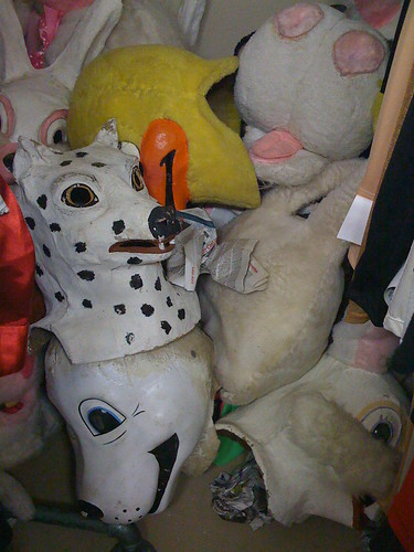 Heads in a costume shop