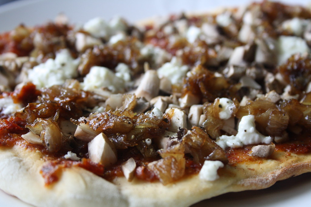 Homemade pizza with homemade sundried tomatoes