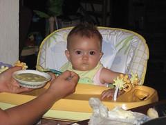 Sasha at breakfast
