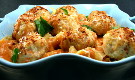 Turkey Meatballs with Quick Tomato Cream Sauce