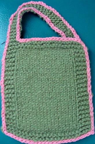 MossGreen/Pink Baby Bib