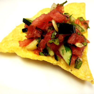 Watermelon Salsa on a Chip by The Gourmet Foodie Blog.