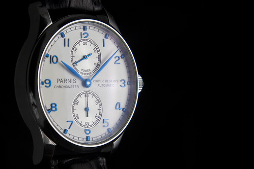 blue white hands mechanical seagull watch dial automatic homage portuguese numerals chrono iwc parnis strobist st25